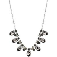August Woods Silver + Black Crystal Statement Necklace - Silver