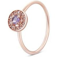 Argento Rose Gold February Halo Adjustable Ring - Rose Gold