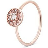 Argento Rose Gold April Halo Adjustable Ring - Rose Gold
