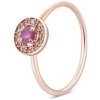 Argento Rose Gold July Halo Adjustable Ring - Rose Gold