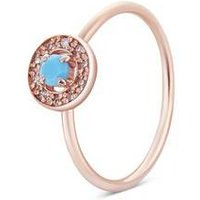 Argento Rose Gold December Halo Adjustable Ring - Rose Gold