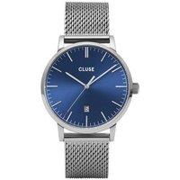 CLUSE Aravis Silver + Blue Mesh Mens Watch