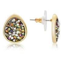August Woods Gold Purple Minerals Teardrop Earrings - Gold