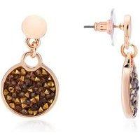 August Woods Rose Brown Minerals Druzy Earrings - Rose Gold
