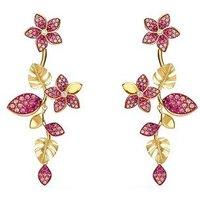 Swarovski Tropical Gold + Pink Drop Flower Earrings