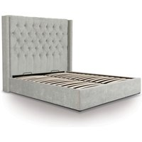 Ottoman Bed  King Size  Light Grey  Contemporary Style