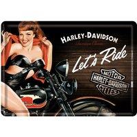 Biker Babe Red Blechpostkarte