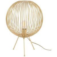 Edie Gold Cage Round Tripod Lamp