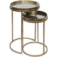 Product photograph showing Marco Aged Gold Round Nesting Tray Tables With Diamond Print Mirror Tops