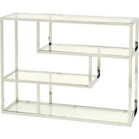 Product photograph showing Shefford Stainless Steel And Glass Shelving Unit