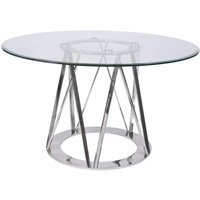 Timo Stainless Steel and Glass Round Dining Table