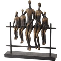 Product photograph showing Family Of 5 Sitting On Fence Sculpture In Bronze Finish