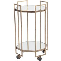 Fulbrook Mirror Top Octagonal Drinks Trolley in Antique Gold