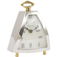Product photograph showing Kettlewell Silver And Brass Triangular Mantel Clock