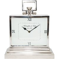 Product photograph showing Latham Silver Metal Rectangular Clock - Small