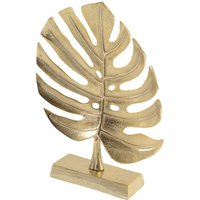 Product photograph showing Monstera Leaf Metal Sculpture In Gold Finish