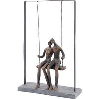 Product photograph showing Park Peace Couple On Swing Sculpture In Bronze Finish
