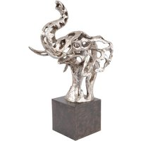 Product photograph showing Pascha Abstract Elephant Sculpture In Silver Finish