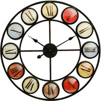 Product photograph showing Smarty Iron Clock With Coloured Domed Numerals
