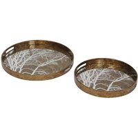 Product photograph showing Tree Design Round Mirror Trays - Set Of 2