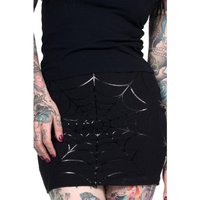 Black Foil Web Mini Skirt
