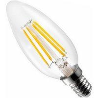 Bombilla vela LED E14 C35 transparente 4W 3000ºK