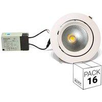 Pack ahorro 16 downlight LED circular empotrable basculante 32W 60º