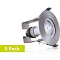 Integral Evofire 70mm cutout Fire Rated Static Downlight Round Satin Nickel with Insulation Guard and GU10 Holder   3 Pack
