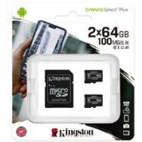 Kingston Canvas Select Plus  Multi-Pack 2 x 64GB microSDHC Card + SD Adapter