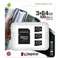 Kingston Canvas Select Plus  Multi-Pack 3 x 64GB microSDHC Card + SD Adapter