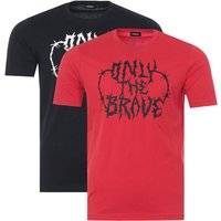 Diesel 2 Pack T-Just Barbed Wire Only The Brave T-Shirts - Black & Red