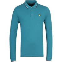 Lyle & Scott Long Sleeve Tipped Teal Polo Shirt