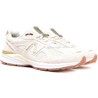 New Balance M990 Made in USA Cream & Gold Detail Suede Trainers
