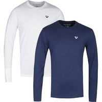 True Religion Two-Pack Long Sleeve Navy & White T-Shirts