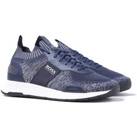 BOSS Titanium Runn Navy Knit Trainers