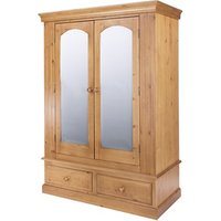 Edwardian 2 Drawer Wide Wardrobe with Mirrored Doors