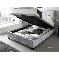 Kaydian design walkworth 6ft superking fabric ottoman bed,silver velvet
