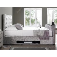 Kaydian design barnard 6ft superking ottoman tv bed,silver velvet