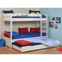 Stompa Classic Kids White Bunk Bed With Trundle Bed & Mattress