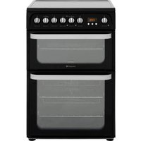 Hotpoint HUE61K 60cm Electric Double Cooker with Ceramic Hob