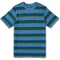 Volcom - Keates Stripe Crew S/S - T-shirt size L, blue/turquoise
