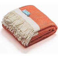 Atlantic Blankets 100% Wool Blanket - Coral Herringbone (130 x 200cm)