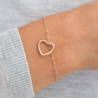Ellie Personalised Rose Gold Heart Charm Bracelet