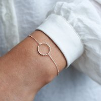 Sterling Silver Diamond Cut Circle Personalised Bracelet