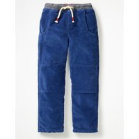 Lined Cord Pull-on Trousers Blue Boys Boden, Blue