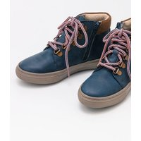 Leather Lace Up Boots Blue Boys Boden, Blue