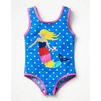 Fun Detail Swimsuit Blue Girls Boden, Blue
