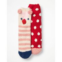 2 Pack Fluffy Socks Red Girls Boden, Red