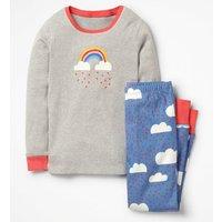 Cosy Long John Pyjamas Blue Girls Boden, Blue