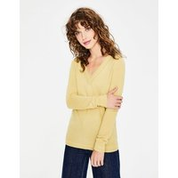 Cashmere Relaxed V-neck Jumper Yellow Women Boden, Yellow